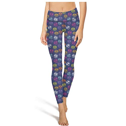 PLOKINC Flare Yoga Pants for Womens Workout Leggings Cartoon Day-of-The-Dead Pockets and Tummy Control Footless -