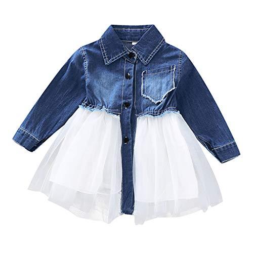 RYGHEWE Newborn Toddler Baby Girls Denim Dress Long Sleeve Party Tulle Sundress Skirt Blue