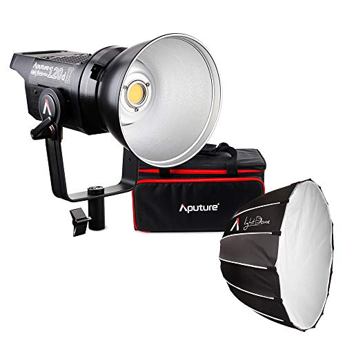 Aputure LS C120d II LED Video Light + Light Dome, Studio Lamp CRI96+ TLCI97+ 5500K Supports DMX Control 5 Pre-Programmed Lighting Effects, Light-Reflecting Softbox with Diffuser Bowens Mount ()