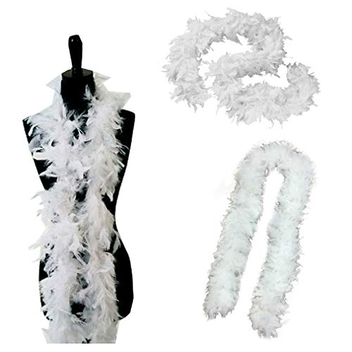 Tigerdoe Feather Boas - 2 Pack - White Marabou Boas, Party Dressup Costume Accessories, 72 Inch Long ()