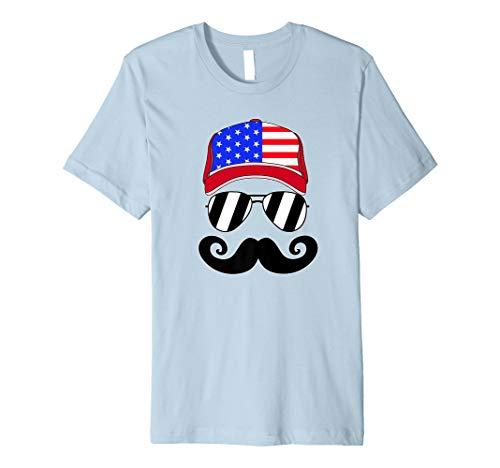 Merica American Flag Trucker Hat Mustache July 4th Premium T-Shirt]()