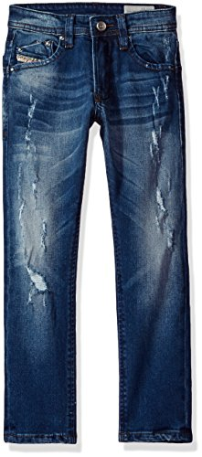 Diesel Big Boys' Waykee 5 Pocket Straight Leg Stretch Distressed Jean, Denim, - Diesel Jeans Kids