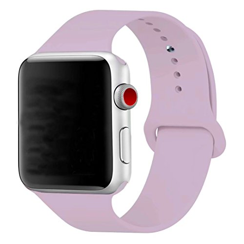 [3 Pieces] Band for Apple Watch 38mm,JOKHANG Soft Silicone Sport Band [2 Lengths] Large/Small Wrist Strap Replacement for Apple Watch 2015 & 2016 All Models 38mm- Lavender Purple