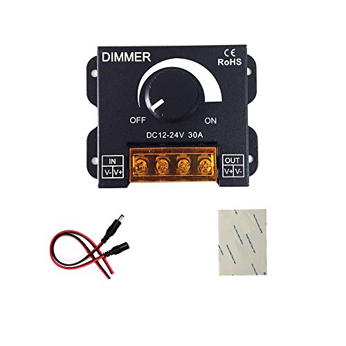pwm dimmer 12V 24V 30A LED Dimmer Controller for Single Color LED Strip Lighting Lamp Ribbon Light Black Button Control Brightness (New Style )