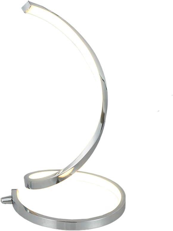 Karmiqi Spiral LED Table Lamp Modern Bedside Nightstand Lamp Curved Desk Reading Lamp Chrome Finish Contemporary Minimalist Design for Bedroom Living Room …