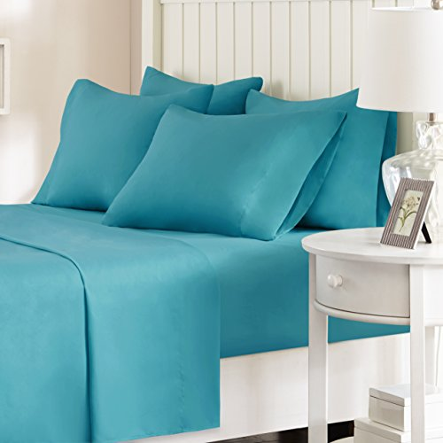 Comfort Spaces - Hypoallergenic Microfiber Sheet Set - 6 Piece - Full Size - Wrinkle, Fade, Stain Resistant - Teal - Includes flat sheet, fitted sheet and 4 pillow cases - Comforter Cover 6 Piece Bedding