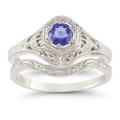 Amazoncom AntiqueStyle Tanzanite Wedding Ring Set Jewelry