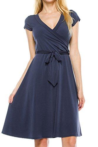 KAYLYN KAYDEN KLKD J1I01 Women's Basic Solid Draped Self Tie A-Line Faux Wrap Dress Charcoal -