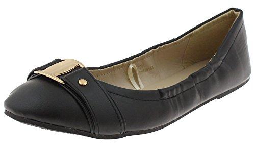 Capelli New York Ladies Flats Black Leather
