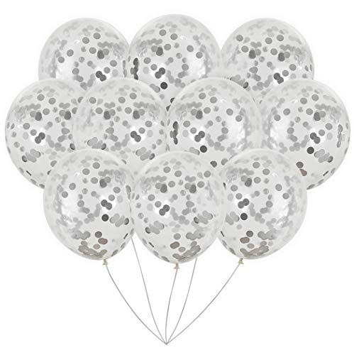 Silver Foil Confetti Balloons | Vibrant Confetti Pre-Filled | Wedding Engagement Birthday Party Events (16 Pack Silver, 18 Inches) ()