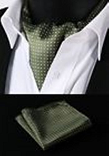 Olive Martini Costume (Mondaily DL103Y Olive White Polka Dot Silk Cravat Scarves Ascot Hanky Handkerchief Set #PPTE4768)
