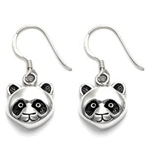 Sterling Silver Panda Face Wire Earrings