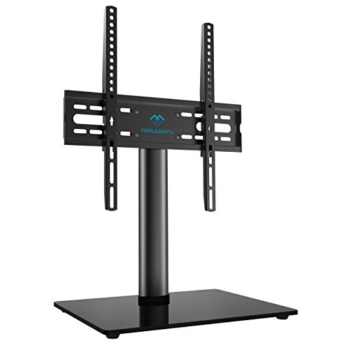 PERLESMITH Universal TV Stand – Table Top TV Stand for 23-49 inch LCD LED TVs – Height Adjustable TV Base Stand with Tempered Glass Base & Wire Management, VESA 400x400mm
