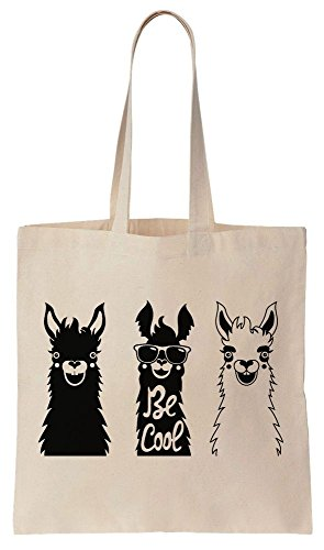 Three Happy Llamas Be Cool Sacchetto di cotone tela di canapa