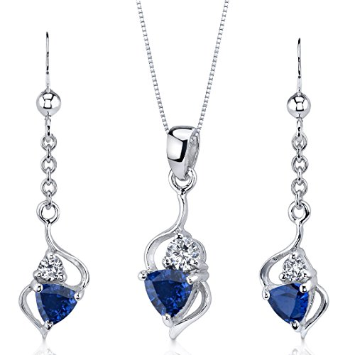 - Created Sapphire Pendant Earrings Necklace Set Sterling Silver Trillion Cut 2.25 Carats