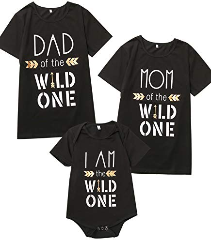 Wild One Baby Boy Girl 1st Birthday Outfit Family Matching Set (Black,12-18 Months) -