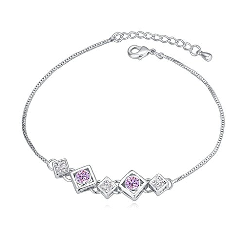 Beydodo White Gold Plating Bracelet For Women (Link-Bracelets),Austria Crystal Square Purple CZ 18CM
