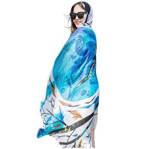 GERINLY Beach Sarongs for Women Batik Sarongs Summer Vacation Coverups Scarf (Blue)