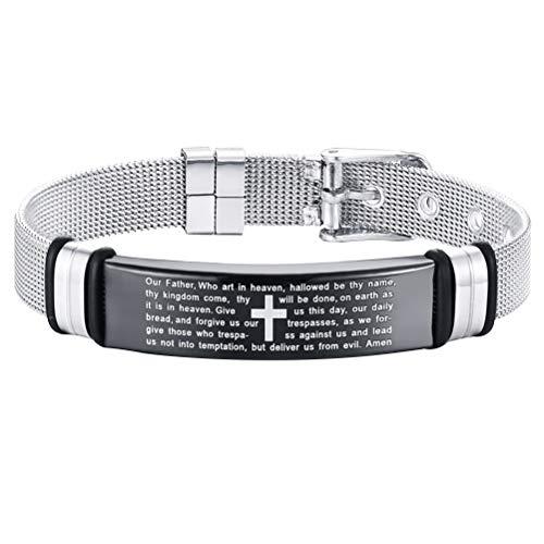 FENICAL Titanium Steel Cross Bracelets Jewelry Black Sliver Adjustable Link Bracelets for Man Male Boy