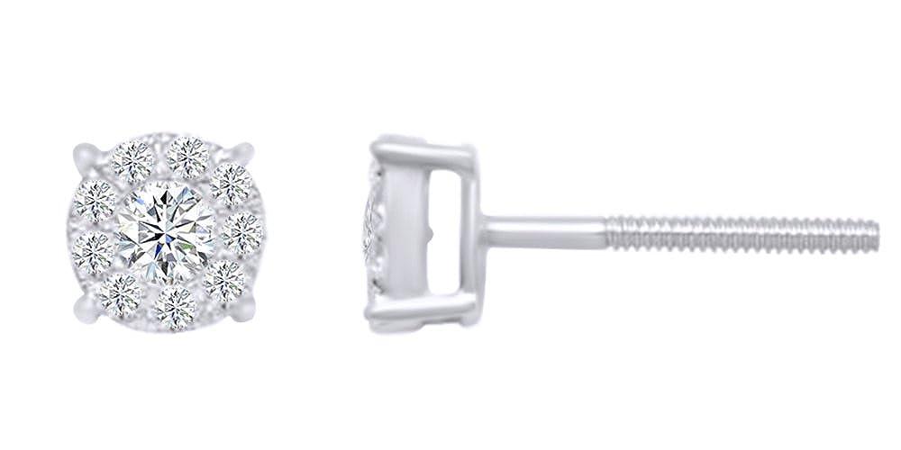 0,63 kt Form natürlichen rund Weißszlig; Diamant-Cluster-Ohrstecker in 14 ct 585 Massiv Weißszlig; Gold 14 Karat (585) WeißGold