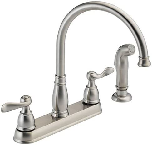Delta Faucet Windemere 2-Handle Kitchen Sink Faucet with Side Sprayer in Matching Finish, Stainless 21996LF-SS