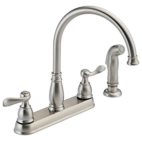 Captivating Delta Foundations 21996LF SS Two Handle Kitchen Faucet With Spray, Stainless Ideas