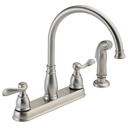 Stainless Steel 3 Hole Installation - Delta Faucet Windemere 2-Handle Kitchen Sink Faucet with Side Sprayer in Matching Finish, Stainless 21996LF-SS