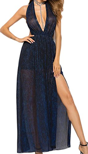 Blue Halter Neck Sexy Womens See Party Evening Through Sleeveless Jaycargogo Dress Lace Dark EqA7x5