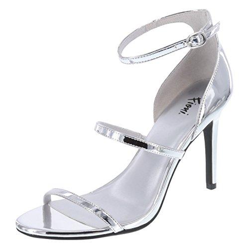 Silver Strappy Heels (Fioni Women's Silver Women's Jisele Strappy Sandal 8 Regular)