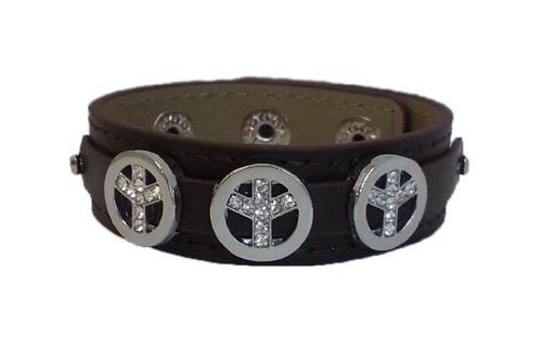 La Loria Charm Clip - per le donne o ragazze Peace colore argento - Charm con strass per il cinturino in pelle o i lacci