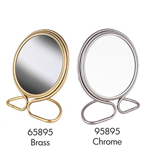 Frasco Mirrors Folding Stand Double Sided Mirror, Brass, 0.5 lb.