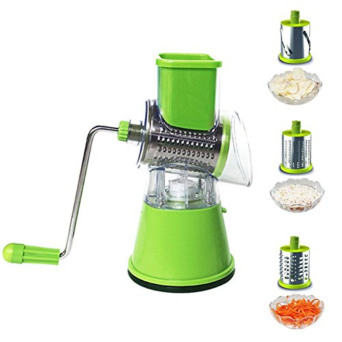 GutReise Vegetable 3-Blade Spiral Slicer Best Veggie Pasta Spaghetti Maker Slice Grinding Shredded barrel Stainless Steel Roller Cutting Machine Household Rotary Kitchen Tools