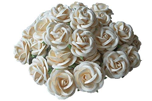 20 pcs BIG Rose White color Mulberry Paper Flower 45mm scrapbooking wedding doll house supplies card