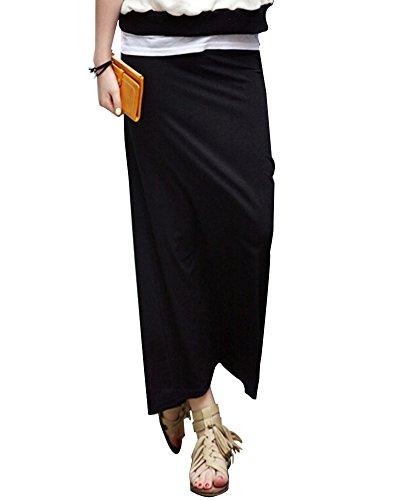 SaiDeng Mujer Elástica Cintura Alta Abertura Lateral Ajuste Delgado Falda Largo Amarillo Negro