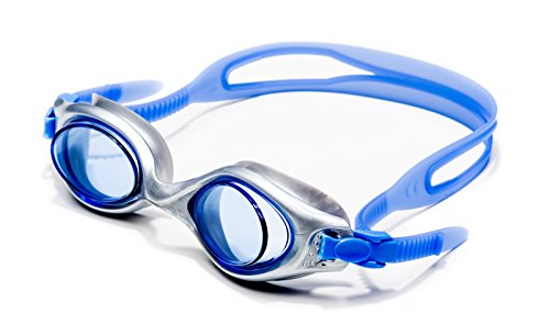(Luna Viking Swimming Goggles with Easy-Adjust Strap and Blue Lenses)