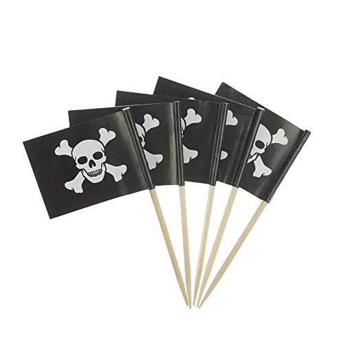 Wgg Pirate Flag Picks Food Fruit Toothpicks Cocktail Sticks Cupcake Toppers, 100 Count (Pirate Flag A)]()
