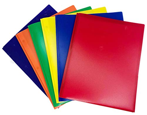 - GIFTEXPRESS 6-Pack Bright Solid Color 3-Prong Poly Portfolio with 2 Pockets, Two Pocket Poly File Folder, 3 Hole Plastic Folder-Strong and Durable Plastic, School Teacher Preferred Colors