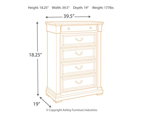 Bedroom Signature Design by Ashley Bolanburg Chest of Drawers, Antique White dresser