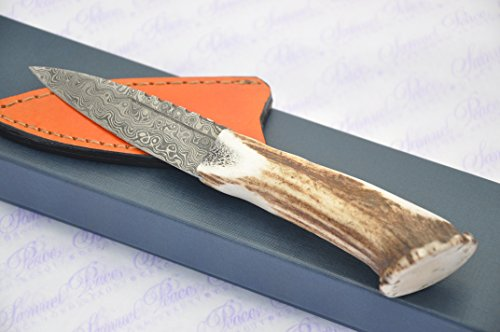 New Genuine Damascus Steel Full Crown Stag Handle Sheffield Sgian Dubh Boxed with Superior Leather Sheath