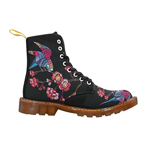 Interestprint Fish Print Lace Up Botas Zapatos De Moda Para Mujeres Floración Rama Con Un Pájaro
