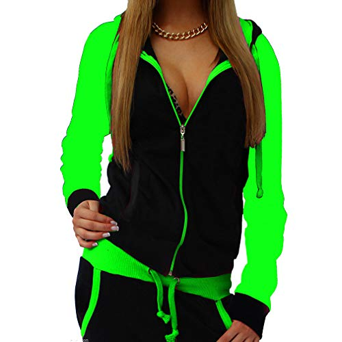 Abbigliamento Outfit Autunno Hooded Piece Tuta Moda Yying Two Coulisse Donna Verde Fluorescente qxt0IAz