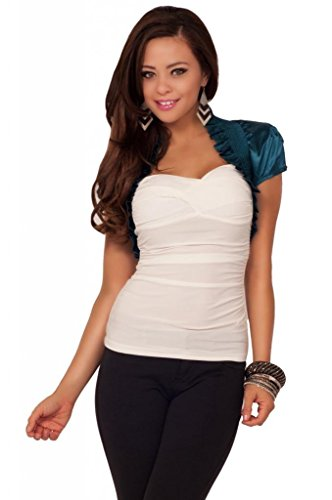 Womens Cropped Sleeves Ruffle Stretch Shrug Bolero Casual Formal Jacket