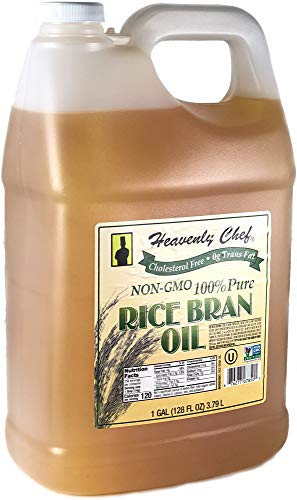 RICE BRAN OIL | 1 Gallon (128 Ounces) | Kosher | All- Natural, Made from 100% Non-GMO Rice | Rich in Vit E and Gamma Oryzanol | Unfiltered, No Trans Fat and Heart Healthy | by Heavenly Chef