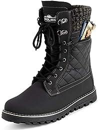 Womens Memory Foam Outside Pocket Inside Zip Thermal Waterproof Deep Tread Rubber Sole Snow Boots