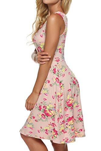 cooshional Vestido estampado floral sin mangas vestido casual de verano de las mujeres Rosa