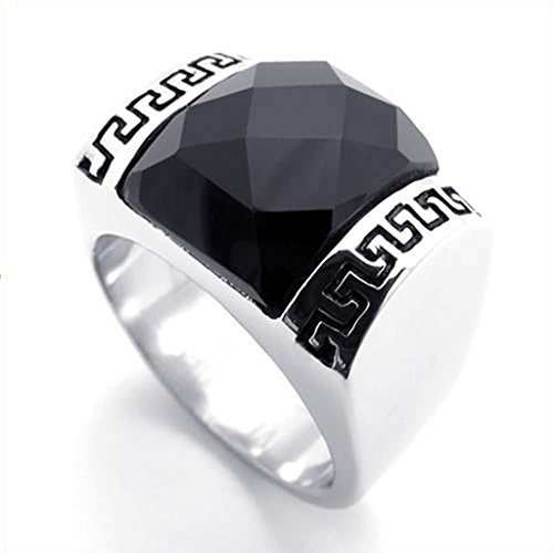 [Bishilin Stainless Steel Fashion Men's Rings Punk Retro Ring Black Silver Size 11] (His And Her Costumes 2016)