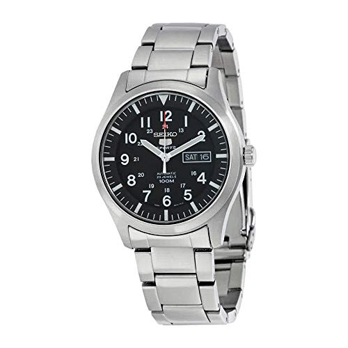(Seiko Men's SNZG13 Seiko 5 Automatic Black Dial Stainless-Steel Bracelet Watch)
