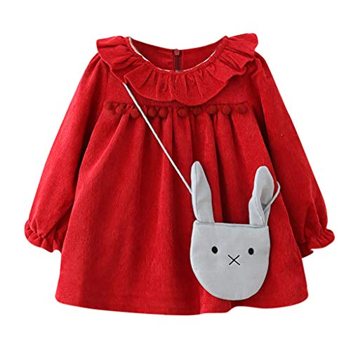 (Sunhusing Adorable Infant Girls Lotus Leaf Collar Long Sleeve Princess Dress Tassel Balls with Bag)