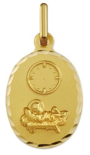 www.diamants-perles.com - Médaille Bapteme - Médaille religieuse - Horloge - Angelot couché - Or Jaune - 750/1000