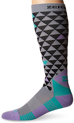 Zensah Unisex Design Compression Socks, Black-Mint-Lilac, Medium
